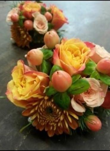 Wrist Corsage - fall mix with mini roses