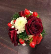 Wrist Corsage-red and white mix with mini roses