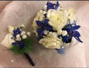 Wrist Corsage - blue and white mix with roses