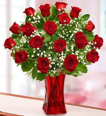 "Blooming Loveâ""¢  Premium Red Roses in Red Vase"